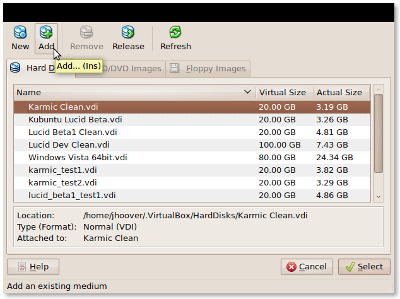 Add VirtualBox VDI screenshot
